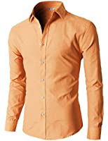 H2H Mens Oxford Cotton Slim Fit Dress Button-down Shirts Long Sleeve