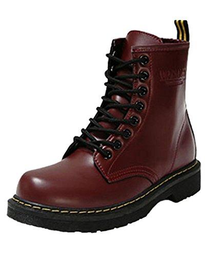 Minetom Donna Autunno Inverno Lace Up Pelliccia Neve Stivali Snow Boots Antiscivolo Impermeabile Stivali Cavaliere Martin Stivali Vino rosso EU 39