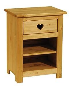 Couleur d 39 int rieur table de chevet pin massif 1 tiroir coeur amazon f - Table de nuit rustique ...
