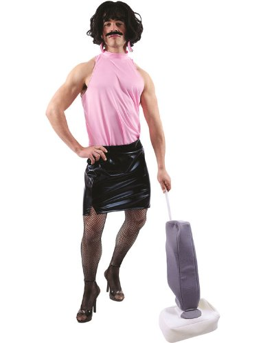 Queen I Want To Break Free Video Funny Housewife Costume. Includes fake vacuum cleaner.