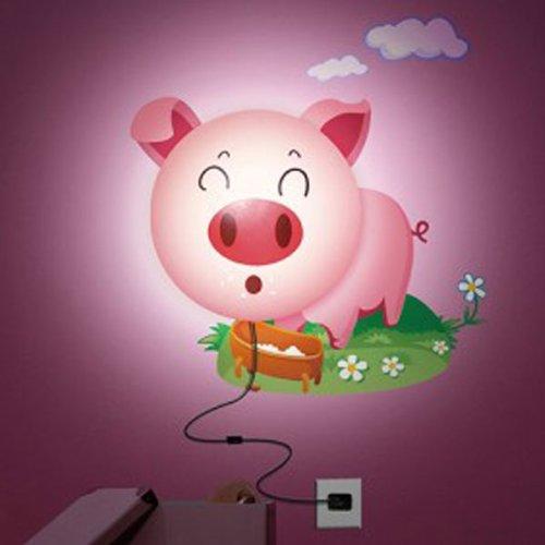 DIY Sticker Wall Lamp Cartoon Pink Pig LED 3D Night Wallpaper Light. (Hot Pink Lightbulbs compare prices)