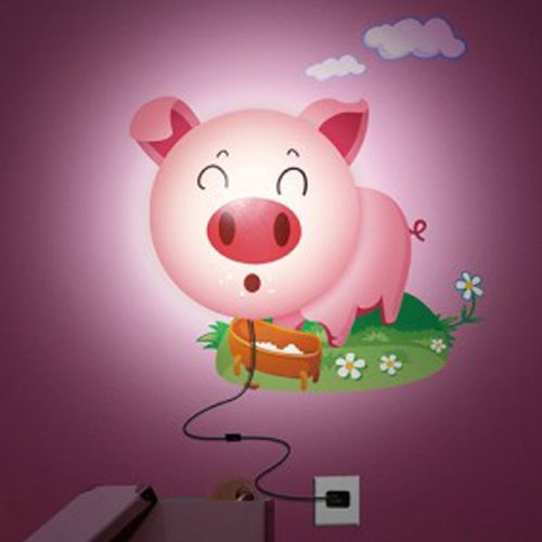 DIY Sticker Wall Lamp Cartoon Pink Pig LED 3D Night Wallpaper Light