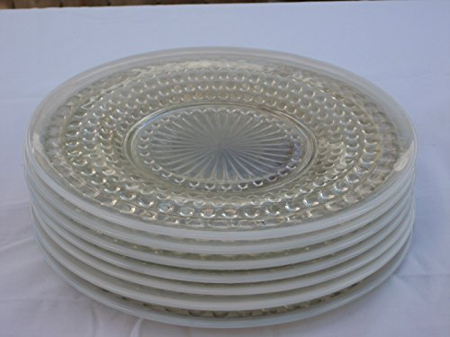 SET OF 7 - Vintage Anchor Hocking Opalescent Starburst Hobnail Glass Moonstone 8 1/2 Inch Luncheon Salad Plates