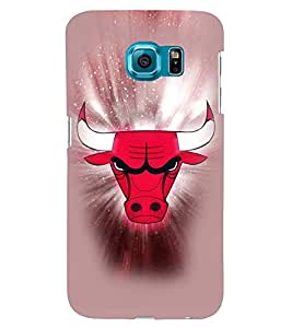 Printvisa Red And White Rodeo Bull Pic Back Case Cover for Samsung Galaxy S6::Samsung Galaxy S6 G920