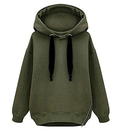 ClothingLoves dicono le donne s con cappuccio e cerniera, orlo calda Felpa lunga Verde militare Medium