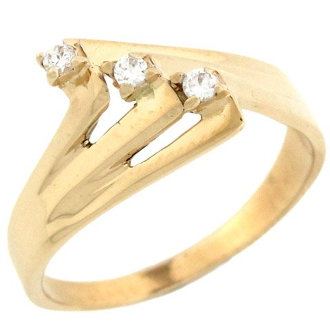 10k Yellow Gold Unique Design Promise Ring with Round Diamonds