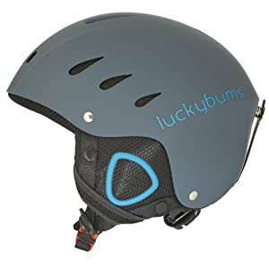New Lucky Bums Adult Ski and Snowboard Helmet Matte Steel & Blue Medium
