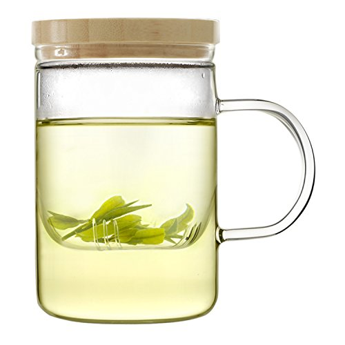 Read About Emoi 15oz Teapot, Pyrex Glass Brewing Tea Cup, Tea Infuser Mug, Premium Loose Leaf Flower...