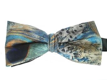 Peacock Print Bow Tie