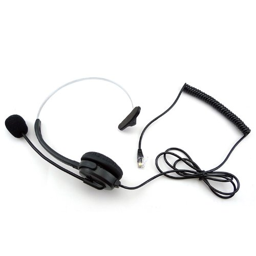 Hands-Free Call Center Headset Headphones Ear Phone Desk Telephone With Comfort Fit Headband Noice Cancelling - Black