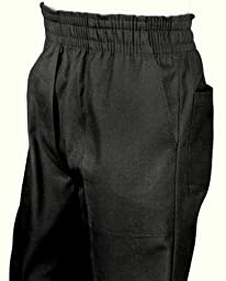 Mens Full Elastic Waist Pants with Mock Fly (L, Black)