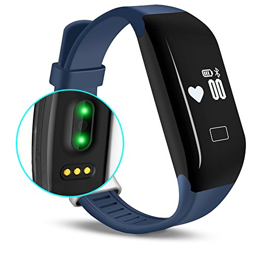 Fitness Tracker with Heart Rate monitor, E3 Activity Watch Step Walking Sleep Counter Wireless Wristband Pedometer Exercise Tracking Sweatproof Sports Bracelet for Android and iOS Blue, EIISON