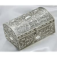 ANTIQUE CHEST BOX - ANTIQUE SILVER CHEST BOX WITH FLORAL DESIGN