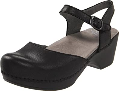Dansko Women's Sam Ankle-Strap Clog,Black,39 EU/8.5-9 M US