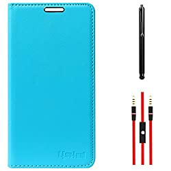 Lishen Premium Quality Leather Stand Flip Cover Case For Samsung Galaxy Note 4 N910 (Light Blue) + AUX Cable + Stylus