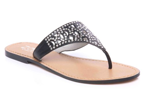 Cheap Unze Women Perforated Sequins Accented Thong Summer, Casual, Day, Beach Party Slipper – Ai0014 (B008CXP6TW)