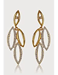Estelle Gold Plated Danglig Earring With Crystals For Women - B00NAWE4Y8