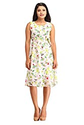 Snoby White Gorgette Floral Print Dress (SBY6075)