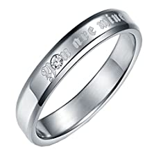 """buy Um Jewelry Couple Promise Rings Personalized Stainless Steel Engraved """"You Are Mine"""" For Him And Her"""