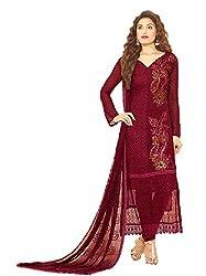 Desi Girl Fashion Store Women's Chiffon Unstitched Dress Material (DGFS01_Maroon_Freesize)