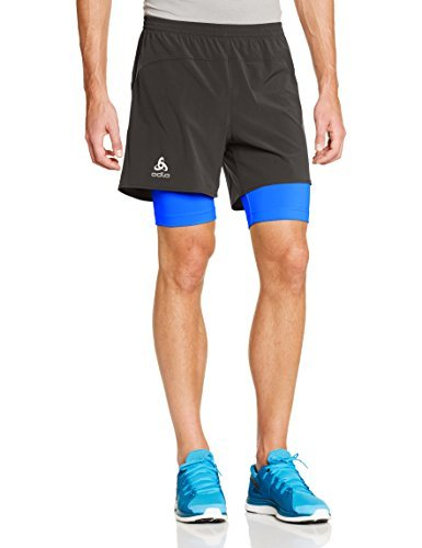 Odlo-Kanon-Mens-Running-Shorts-multi-coloured-Graphite-GreyDirectoire-Blue-SizeFR-L-Taille-Fabricant-L-by-ODLO