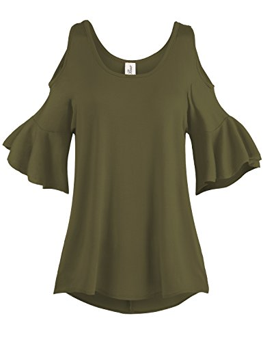 Pleated End Wide Cold Shoulder Tunic Tops, 001-Olive, US 2XL
