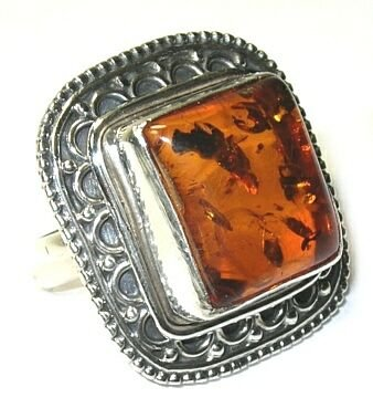 Baltic Amber Sterling Silver Ring - Size 5.75