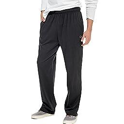 Champion Men\'s Open Bottom Light Weight Jersey Sweatpant, Black, X-Large