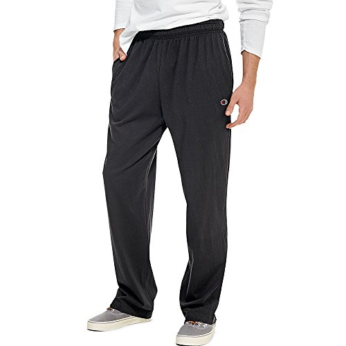 Champion Men's Open Bottom Light Weight Jersey Sweatpant, Black, Large