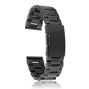 【ノーブランド品】時計バンド 交換ベルト 腕時計ストラップ ステンレス製 24mm 黒