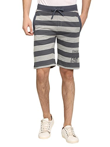 Abof Men Light Grey Melange Striped Regular Fit Shorts