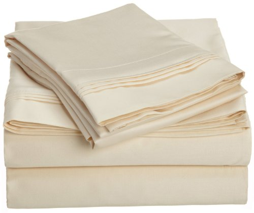 Egyptian Cotton 800 Thread Count Oversized Queen Sheet Set Solid, Ivory back-956453