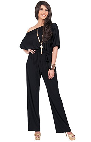KOH KOH Plus Size Womens One Shoulder Short Sleeve Versatile Jumpsuit Playsuit Romper Keyhole Belted pants suits Elegant Cocktail Party Overall, Color Black, Size Extra Large XL 14-16