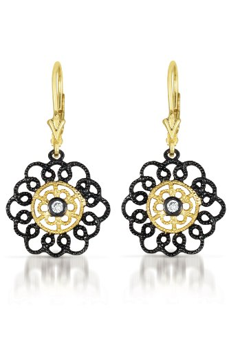 Cubic Zirconia Black Plated Two Tone Lace Flower Euro Earrings