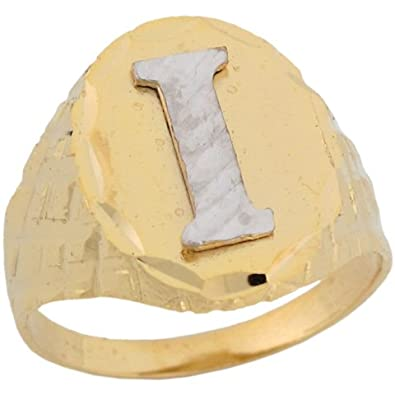 14ct Two Colour Real Gold Diamond Cut Large Letter I Initial Mens Ring