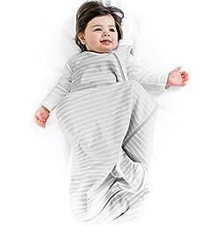 Woolino 4 Season Basic Merino Wool Baby Sleeping Bag or Sack, 0-6 Months, Gray