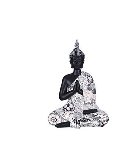 Oriental Figura Decorativa Buda Blanco/Negro