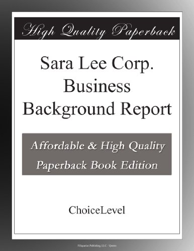 sara-lee-corp-business-background-report