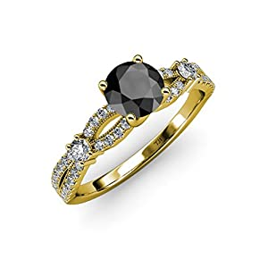 Black and White Diamond Split Shank Engagement Ring 1.45 ct tw in 14K Yellow Gold.size 8.5