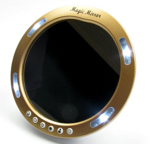 Magie Maquillage Miroir - Miroir grossissant Compact avec des lumires LED idal pour sac  main ou une coiffeuse - or bruni Couleur
