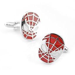 Sirius Jewelry Men\'s Super Hero Red Spiderman Cufflinks