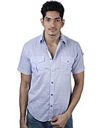 Mavango Stylish Blue Checkered Regular Fit Double Pocket Men's Cotton Shirt