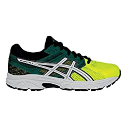 ASICS Gel-Contend 3 GS Running Shoe (Little Kid/Big Kid), Flash Yellow/White/Green, 4.5 M US Big Kid