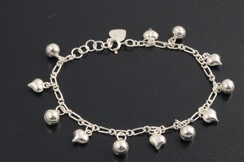 "7 Mm Designer Inspired ""Luxury Cute Little Heart And Bell Fancy Design"" Charms Italian .925 Sterling Silver Bracelet-Anklet **Includes (1) Free Silver Polishing & Cleaning Cloth**"