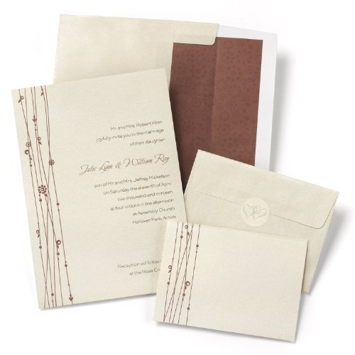 Hortense B. Hewitt 50 Count Vines Invitation Kit, Red