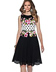 MisShow Women Floral Print Polka Dots False Two Pieces Wear to Work Party Dress