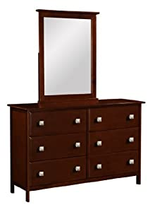6 Drawer Dresser with Mirror--Cappuccino Finish