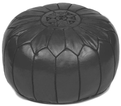 Black Moroccan Leather Pouf Ottoman, Stuffed
