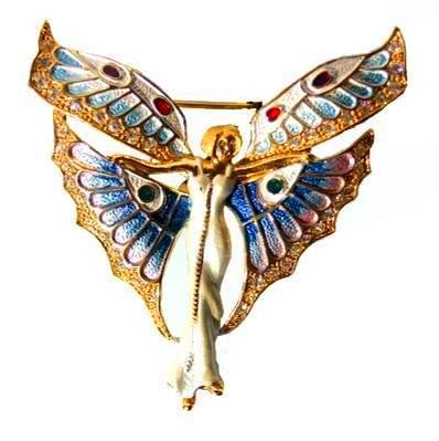 Erte Inspired Winged Fairy Pin set with Swarovski Crystals Art Deco Vintage Style Brooch Angel Jewelry Detailed in 24k GoldFREE SHIPPING