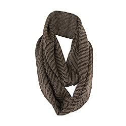 Brown Chevron Medium Weight Loop Scarf for Men and Women